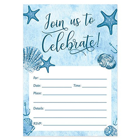 Digibuddha Beach Party Invitations With Envelopes  Fill-In Milestone Birthday, Retirement Party Invites Excellent Value Wedding, Graduation, Anniversary Party Nautical Invitations Vi0059