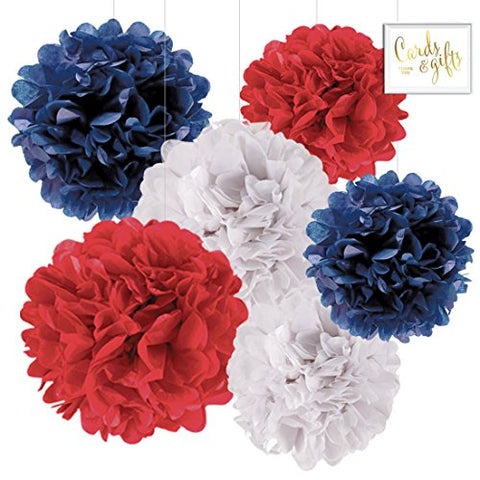 Andaz Press Hanging Tissue Paper Pom Poms Party Decor Trio Kit With Free Party Sign, Red, White, Navy Blue, 6-Pack, For Baby Bridal Shower Decorations