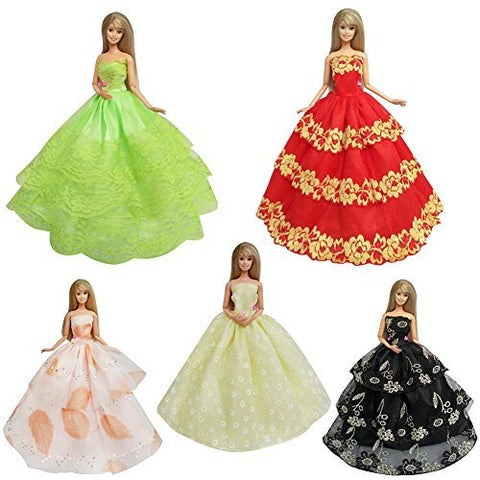 Aoile 5Pcs Fashion Handmade Lace Party Dress Set For Barbie/Pullip Doll/Jenny Doll Girls' Birtnday Gift By Aoile