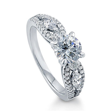 Berricle Rhodium Plated Sterling Silver Solitaire Promise Engagement Ring Set W/Swarovski Zirconia Size 5