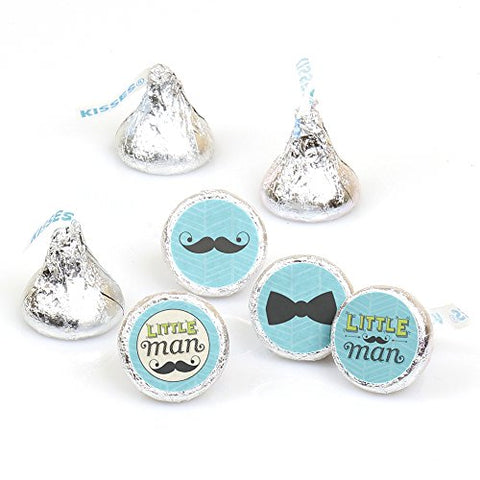 Dashing Little Man Mustache Party - Baby Shower Or Birthday Party Round Candy Sticker Favors - Labels Fit Hersheys Kisses (1 Sheet Of 108)