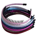 Bzybel Wome Solid Shiny Headbands Plastic Hair Bands Hair Comb Ribbon Covered For Little Girls