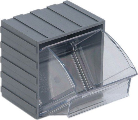 Quantum Storage Systems Qtb406Gy Clear Tip Out Bin, 3-5/8 By 4-1/16 By 4-1/4-Inch, Gray, Set Of 6