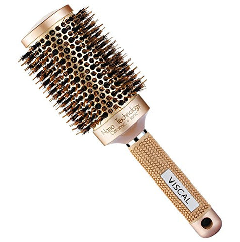 Viscal Nano Thermal Ceramic &Amp; Ionic Round Barrel Hair Brush Large Round Hair Brush With Boar Bristle 3.3 Inch, For Hair Drying, Styling, Curling, Adding Hair Volume And Shine, Gold Brown.