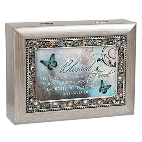 Blessed To Have You As Friend Brushed Pewter Finish Jeweled Jewelry Music Box Plays Wonderful World