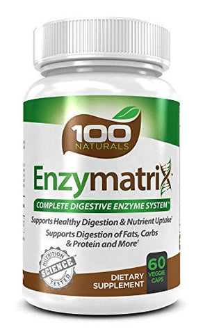 100 Naturals Enzymatrix Complete Digestive Enzyme System Dietary Supplement, 60 Veggie Capsules