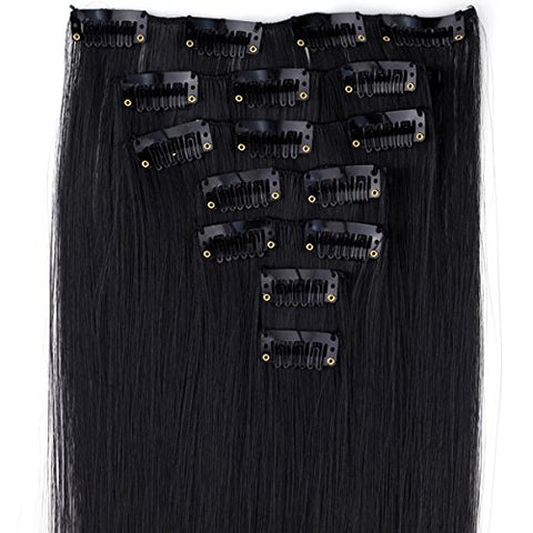 Miss U Hair 24 /60Cm 130G 7Pcs/Set Women Long Straight Synthetic Hair Full Head Clip In Hair Extensions Pieces (1# Jet Black)