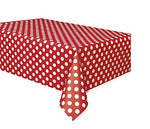 Polka Dot Plastic Tablecloth, 108 X 54, Red With White Dots