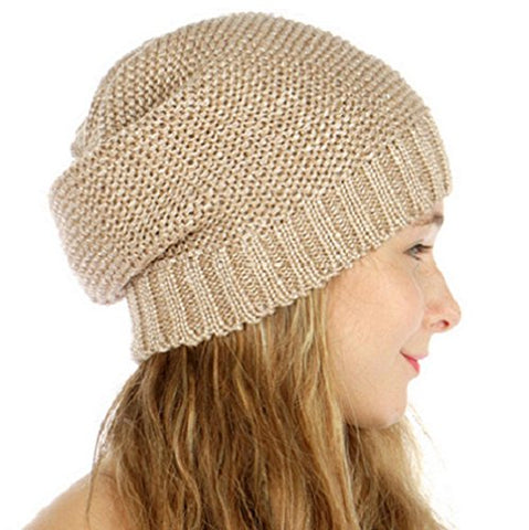 Slouchy Metallic Knit Beanie Hat (Taupe)