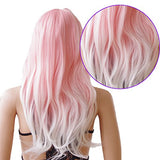 Heat Resistant Synthetic Ombre Wig Long Wavy Hair For Women Cosplay Costume With Oblique Bangs Tail In Volume (27.5 Pink To White)