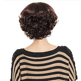 Coolsky Woman Short Dark Brown Wig Hot Natural Fluffy Wavy 100% Real Human Hair Replacement