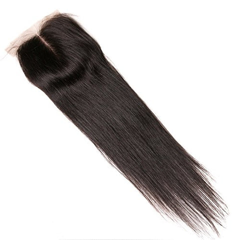 Lanyi Hair Virgin Brazilian Hair Straight Middle Part 130% Density Lace Closure 18