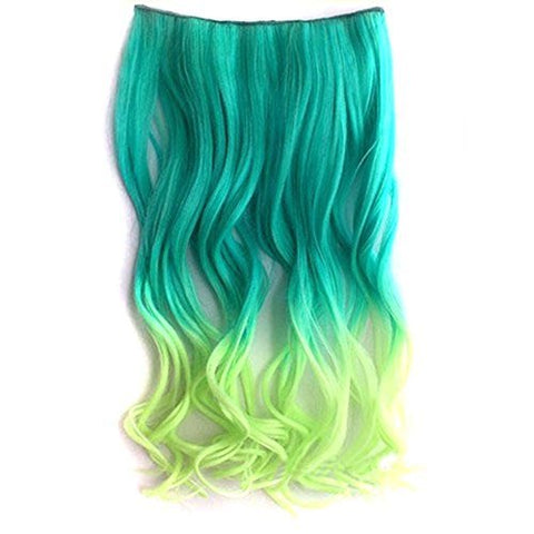 Jovana Ombre Dip-Dye Color New Two Tone Gradually Varied One Piece Straight Multicolor 60Cm Length Synthetic Thick Hair Extensions Clip-On Hairpieces (Green To Yellow)