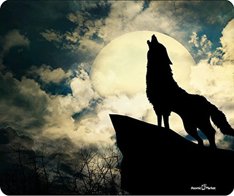 Wolf Howling At The Moon Thick Mousepad By Atomic Market