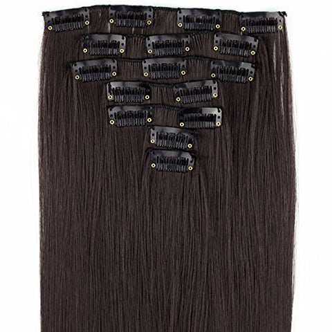 Miss U Hair 24 /60Cm 130G 7Pcs/Set Women Long Straight Synthetic Hair Full Head Clip In Hair Extensions Pieces (4# Dark Brown)