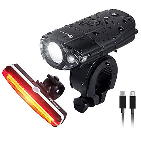Nearmoon Usb Rechargeable Bike Light Set, 700 Lumen Bicycle Lights With Headlight Taillight, Super Bright Front Lamp And Red Rear Light With Emergency Flashlight, Waterproof, Bike Helmet Mount