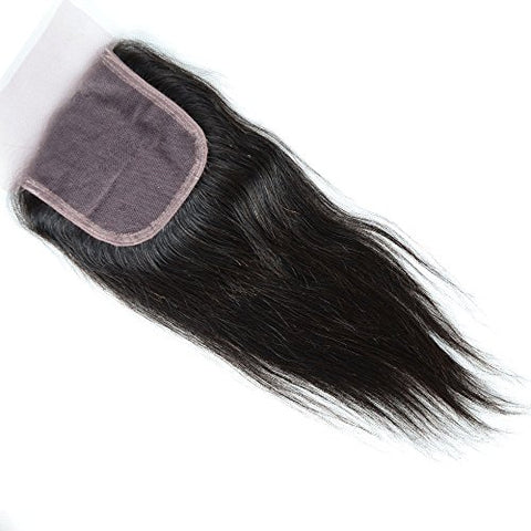 Lanyi Hair Free Part Human Hair Lace Closure Brazilian Hair Straight 130% Density Natural Black Color 20