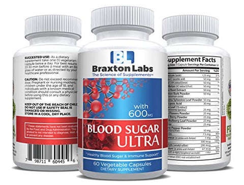 Braxton Labs Blood Sugar Ultra, 60 Capsules, Curbs Hunger And Helps Restore Blood Sugar To Optimum Levels