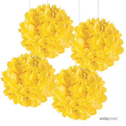 Andaz Press Large Tissue Paper Pom Poms Hanging Decorations, Yellow, 14-Inch, 4-Pack, Fall Autumn Thanksgiving Classroom Office Decorations Colored Birthday Party Supplies