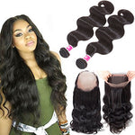 Wigirl Hair 360 Lace Frontal With Bundles 7A Brazilian Body Wave Virgin Hair 2 Bundles With 360 Lace Band Frontal Closure Natural Color (18 20+16)