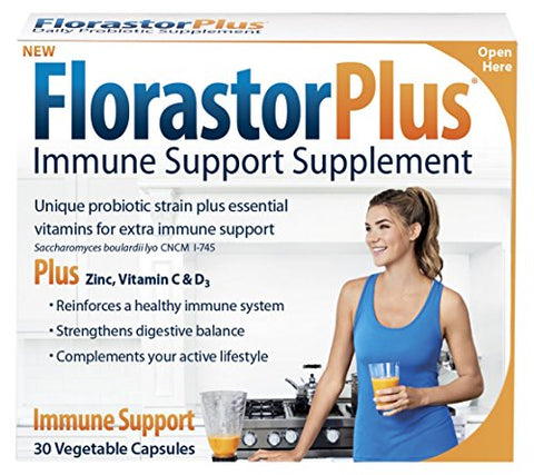 Florastorplus Daily Probiotic Supplement For Men And Women  Saccharomyces Boulardii Lyo Cncm I-745 Plus Zinc, Vitamin C And D3 (30 Capsules Per Box)