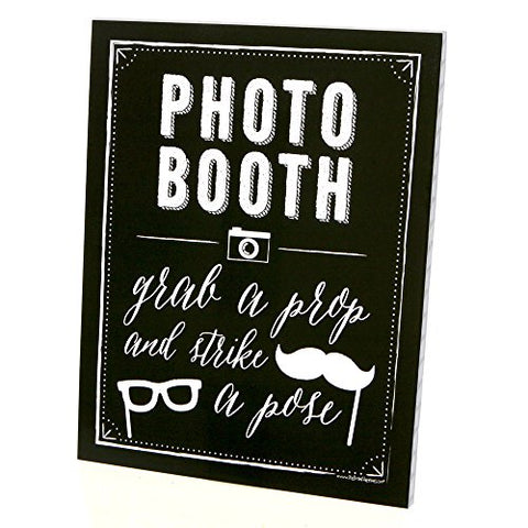 Photo Booth Sign With Stand - Printed On Sturdy Plastic Material - 8.5  X 11