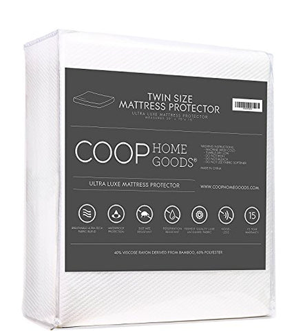 Lulltra Waterproof Mattress Pad Protector Cover By Coop Home Goods - Cooling Waterproof Hypoallergenic Topper - Twin - White-15 Year Warranty