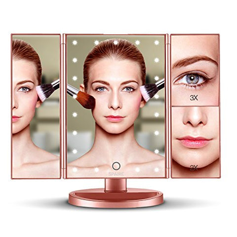 Spaire Vanity Makeup Mirror With Lights 3X/2X/1X Magnification, Trifold Travel Mirror, 180 Adjustable, Dual Power Supply, Lighted Cosmetic Mirror