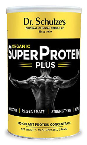 Dr. Schulzes | Superprotein Plus | 100% Plant Protein Concentrate | Organic Powder Mix | Vitamin B-12 &Amp; Spirulina | Dietary Supplement | Build Strong Muscle | Enhance Workout Recovery | 19 Oz.