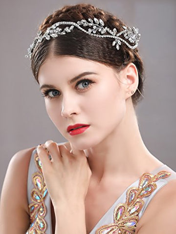 Yean Rhinestones Headband Wedding Bridal Hair Vine Wreath Crown And Tiara For Bride And Bridesmaid