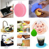 Silicone Kitchen Sponges Multipurpose Non Stick Mildew-Free Antibacterial Silicone Dishwashing Scrubber For Kitchen Brush Pot Pan Dish Bowl, Fruit Vegetable Cleaner, With A Steamer Basket