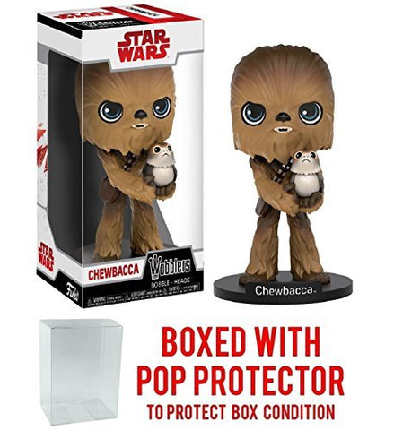 Funko Wobblers Star Wars: The Last Jedi - Chewbacca With Porg Vinyl Figure (Bundled With Pop Box Protector Case)