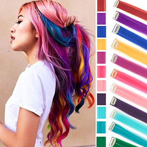 11Pcs Multi-Color Party Highlights Clip In Hair Extension Rainbow Hair Extensions Colored Hairpieces