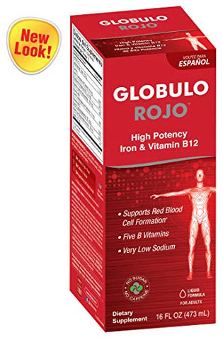 Globulo Rojo Liquid Dietary Supplement With High Potency Iron And Vitamin B-12, Made In Usa, 16 Fl. Oz.