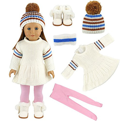 Barwa Doll White Sweater Skirt With Hat Snow Boots And Pink Stockings Tights For 18 Inch Doll Xmas Gift