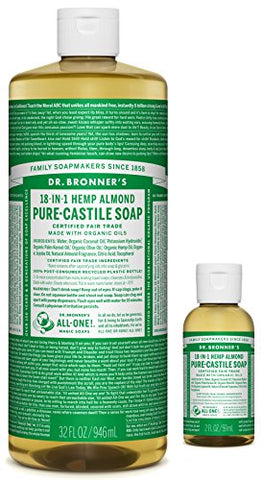 Dr. Bronners Pure-Castile Liquid Soap  Almond Bundle. 32 Oz. Bottle And 2 Oz. Travel Bottle