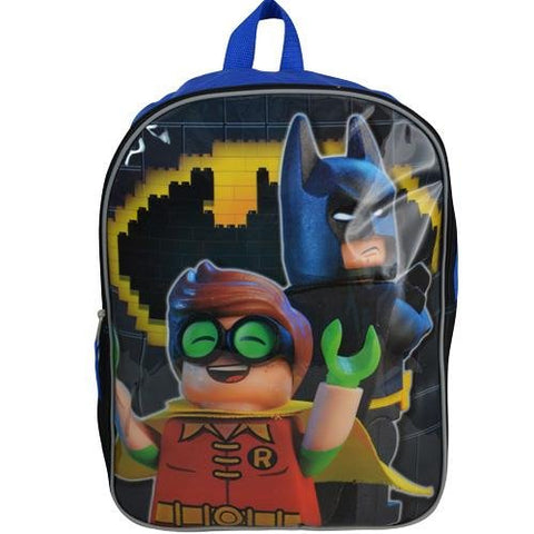 Dc Comics Lego Batman 15  Kids Backpack With Safety Reflectors, Black And Blue