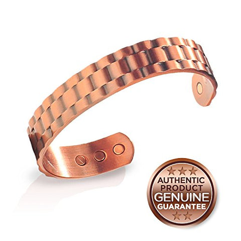 Earth Therapy, The Original Pure Copper Magnetic Healing Bracelet, For Sport Injury Recovery, Arthritis, And Joint Pain Relief - Heavyweight Cuff Style - For Men - Size Medium