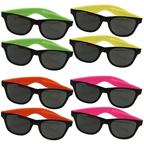 24 Pairs Of Adult Neon Long Lasting 80S Retro Vintage Party Eyewear ,Shades ,Sunglasses For Adults By Dazzling Toys