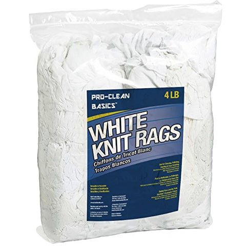 Pro-Clean Basics White Recycled T-Shirt Cloth Rags: 4 Lb. Bag