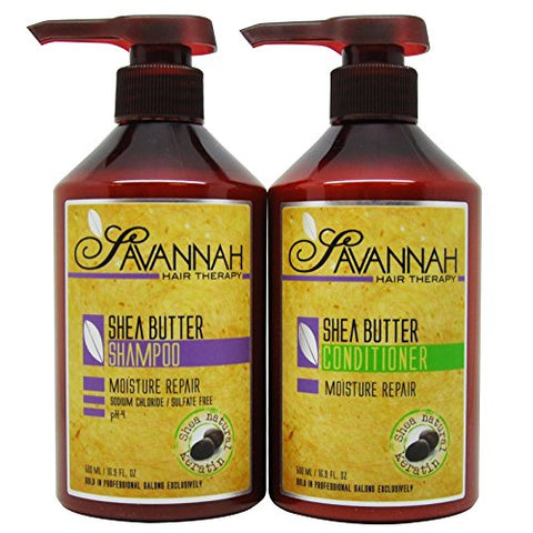 Savannah Shea Butter Shampoo &Amp; Conditioner 16.9Oz Duo  Set
