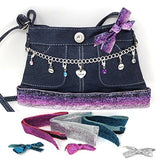 ~New~ Skirty Purse Inspirational Charm Holder Purse With (4) Interchangeable Glitter Ribbon Trims &Amp; Accessories Blue Jean Denim Girls Purses Cross Body Handbag Love Dream Believe Pendants By Ccbys