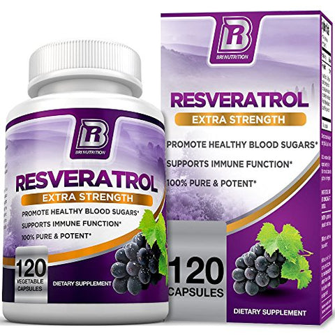 Bri Nutrition Resveratrol - Natural Antioxidant Supplement For Cardiovascular &Amp; Immune System Health &Amp; Promotes Well-Being/Healthy Brain Function - 1200Mg Maximum Strength Veggie Capsules, 120 Count