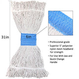 Bonison 16 Oz Cotton Easy Wring Saddle Mop Head Refill, Heavy Duty Looped-End String Swinger Style Replacement Mop Head, For Home, Commercial, And Industrial Use (White, 16 Oz)