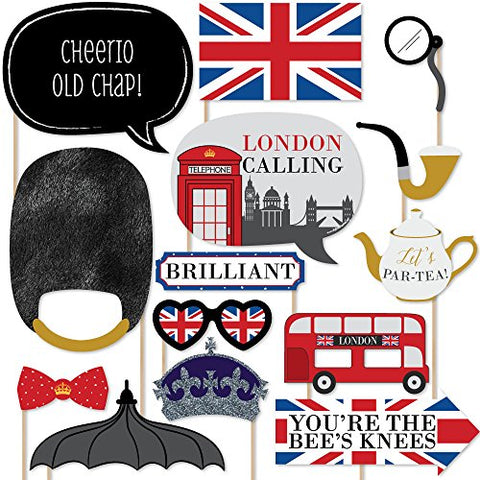 Big Dot Of Happiness London - British Photo Booth Props Kit - 20 Count