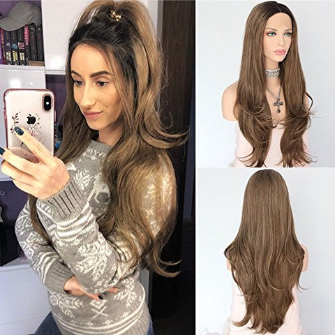 Udreamy Fashion Lace Front Wigs Black Ombre Brown Natural Wavy Glueless Synthetic Hair Wigs For Women Soft Half Hand Tied Heat Resistant Hair Replacement Wigs For Party Wear 24 Inches