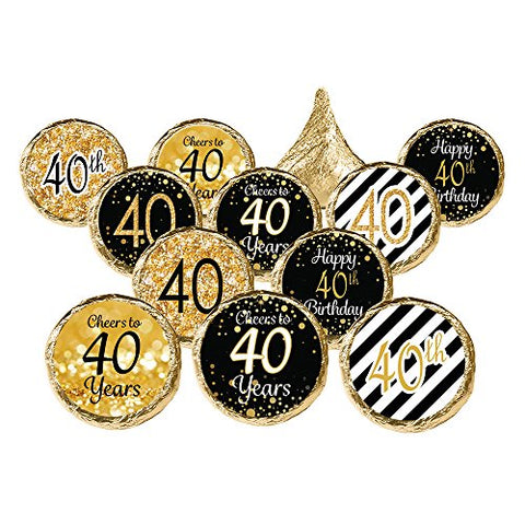 40Th Birthday Party Favor Stickers - Gold And Black (Set Of 324)
