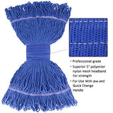 Bonison 16 Oz Cotton Easy Wring Saddle Mop Head Refill, Heavy Duty Looped-End String Swinger Style Replacement Mop Head, For Home, Commercial, And Industrial Use (Blue, 16 Oz)