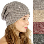 Slouchy Metallic Knit Beanie Hat (Gray)