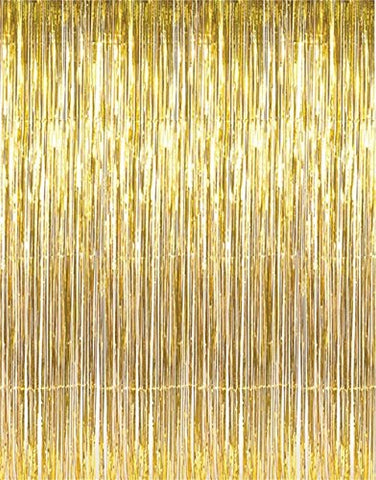 Max Metallic Gold Foil Fringe Curtains(3 Ft X 8 Ft) Door Window Curtain Party Decoration (2)